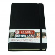 Cuaderno boceto tapa dura cosida Negro Art Creation 80 hojas 160 g/m2. 13X21 cm