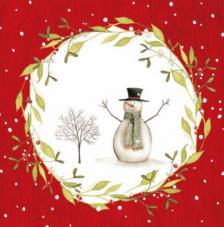 20 Servilletas Navidad. Muñeco de nieve fonfo rojo