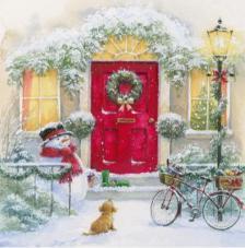 20 Servilletas Navidad. Perrito y muñeco de nieve