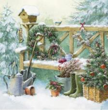 20 Servilletas Navidad.Jardín invierno