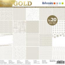 Bloc papel 40 hojas 30,5x30,5 cm. Foil Oro
