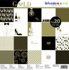 Bloc papel 40 hojas 30,5x30,5 cm. Gold