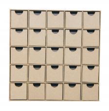 Calendario Adviento cartón 25x25x5 cm