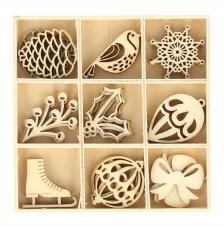 Set 27 siluetas madera navidad 2,5 cm. Figuras navideñas 3