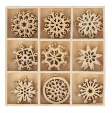 Set 27 siluetas madera navidad 2,5 cm. Copos de nieve