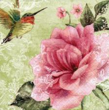 20 servilletas. Rosa fondo verde