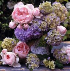 20 servilletas. Hortensias y Rosas