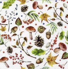 20 servilletas. Bosque otoño blanco
