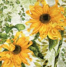20 servilletas. Girasoles fondo amarillo