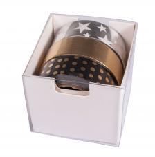 Kit 3 washi tape negro,plata y oro foil. 15mmx10m
