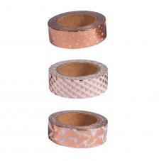 Kit 3 washi tape blanco, rosa y oro foil. 15mmx10m