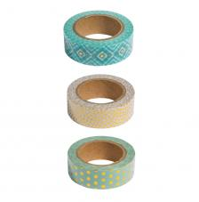 Kit 3 washi tape menta y oro foil. 15mmx10m