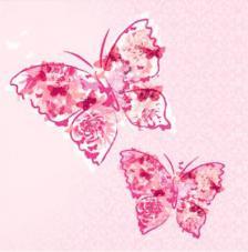 20 Servilletas. Mariposas en rosa