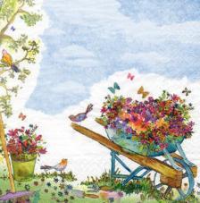 20 Servilletas. Carretilla con flores