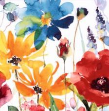 20 servilletas. Flores amarillas, azul y roja