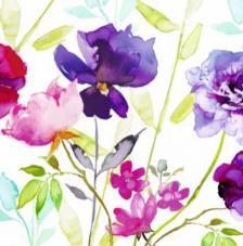 20 servilletas. Acuarela flores moradas