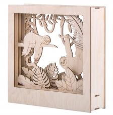 Cuadro 3D selva madera 24x24x6,5cm