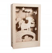 Cuadro 3D unicornio madera 20x30x6,5cm