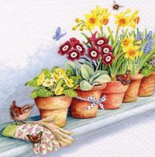 20 servilletas. Maceteros con flores