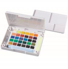 Caja plástico 30 pastillas acuarela + 1 pincel + 2 esponjas Koi Sakura