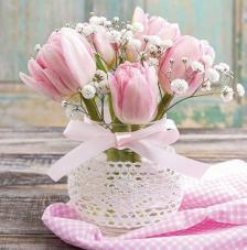 Servilleta vaso cristal con flores
