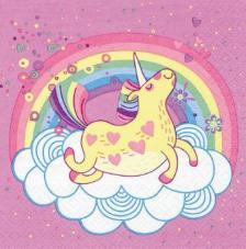 20 servilletas. Unicornio rosa