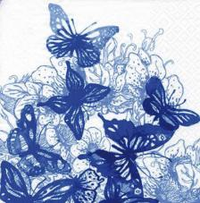 20 servilletas. Mariposas azules