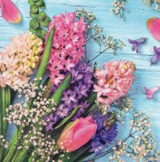 20 servilletas. Flores fondo azul