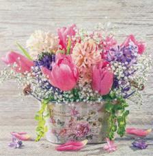 20 servilletas. Bodegon cesta flores