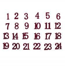 24 números de madera 3 cm. Rojo Vino