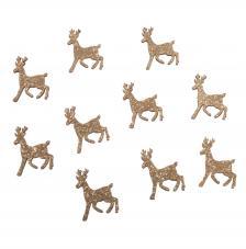 Ciervos de madera gliterados 2,7x3,9 cm.10 unidades