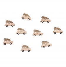 Coches de madera gliterados 5,3x3,6 cm. 9 unidades