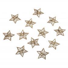Estrellas de madera gliterados 3,9 cm.12 unidades