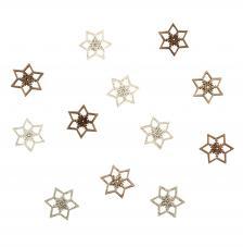 Snowflakes de madera gliterados 2,5 cm.12 unidades