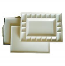 Paleta tupper plástico rectangular 34x25x4 cm con tapa.
