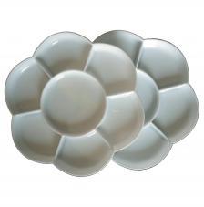 Paleta plástico flor doble 17x17 cm con tapa.