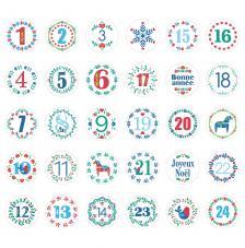 24 números adhesivos Folk de Ø 2,5 cm