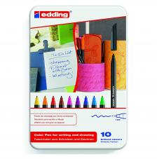 Estuche metal 10 rotuladores edding 1200. 1 mm