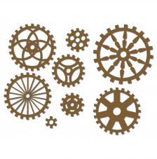 8 Siluetas engranajes Ø 2 a 6 cm