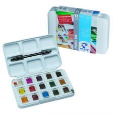Estuche plástico 15 pastillas acuarela + 1 pincel Van Gogh