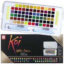 Caja plástico 72 pastillas acuarela + 2 pinceles + 2 esponjas Koi Sakura
