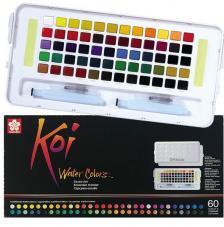 Caja plástico 60 pastillas acuarela + 1 pincel + 2 esponjas Koi Sakura