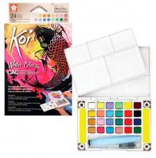 Caja plástico 24 pastillas acuarela colores especiales + 1 pincel + 2 esponjas Koi Sakura