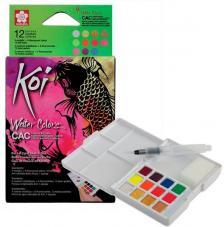 Caja plástico 12 pastillas acuarela colores especiales + 1 pincel + 2 esponjas Koi Sakura