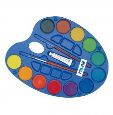 Paleta 12 pastillas acuarelas Ø45 mm con tubo blanco y 2 pinceles