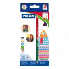 Caja 12 lápices bicolores triangulares
