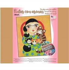 Pintar con arenas Frida Kahlo Gatos 38x46 cm