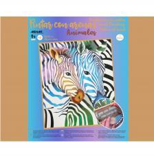 Pintar con arenas Zebras de colores 38x46 cm