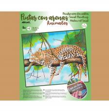 Pintar con arenas Leopardo 46x38 cm