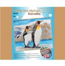 Pintar con arenas Pingüinos 46x38cm
